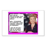 """""""Hillary's qualifications"""" Sticker (Rect"""