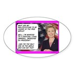 """""""Hillary's qualifications"""" Sticker (Oval"""