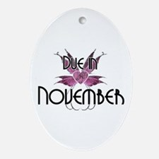 Due In November Fairy Wings Oval Ornament
