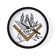Masonic S&C with Trowel Wall Clock