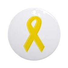 Yellow Awareness Ribbon Ornament (Round)