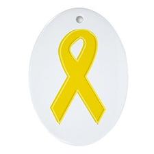 Yellow Awareness Ribbon Oval Ornament