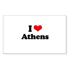 I love Athens Rectangle Decal