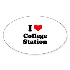I love College Station Oval Sticker (10 pk)