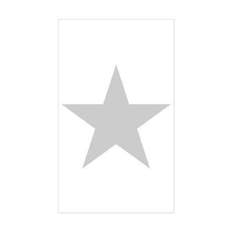 Silver Star Rectangle Sticker 50 pk)