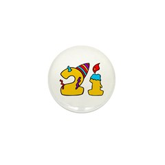 21st Birthday Party Favors! Mini Button (100 pack)