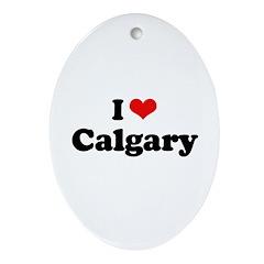 I love Calgary Oval Ornament