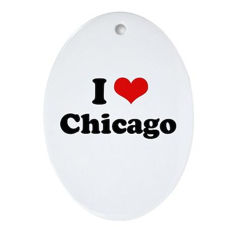 I love Chicago Oval Ornament