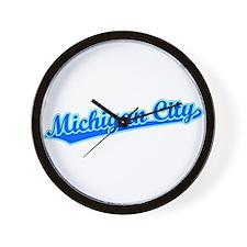 Retro Michigan City (Blue) Wall Clock