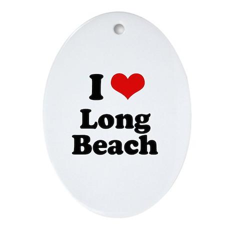 I love Long Beach Oval Ornament