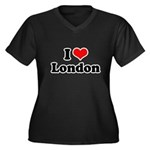 I love London Women's Plus Size V-Neck Dark T-Shir