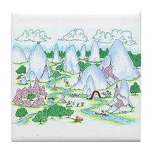 mountainous village Tile Coaster