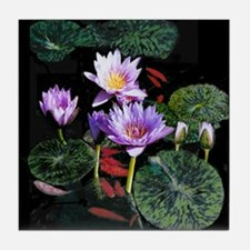 Blue Water Lilies tile coaster