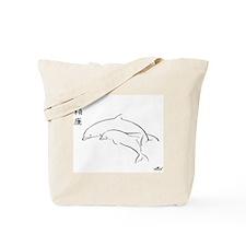 Brush Art Dolphins Tote Bag