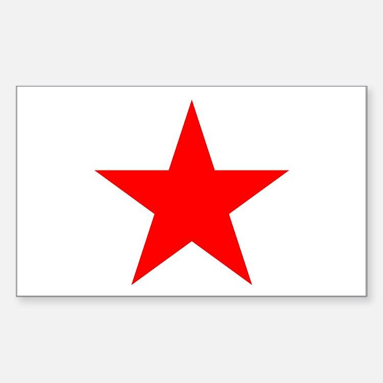 Red Star Rectangle Sticker 10 pk)