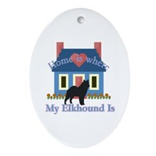 Elkhound Home Is Oval Ornament