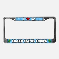 I Love my Golden Capped Conure License Plate Frame