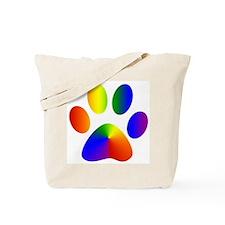 Rainbow Gay Pride Dog Paw Tote Bag