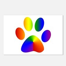 Rainbow Gay Pride Dog Paw Postcards (Package of 8)