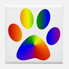 Rainbow Gay Pride Dog Paw Tile Coaster