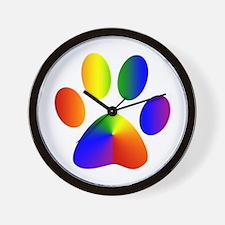 Rainbow Gay Pride Dog Paw Wall Clock