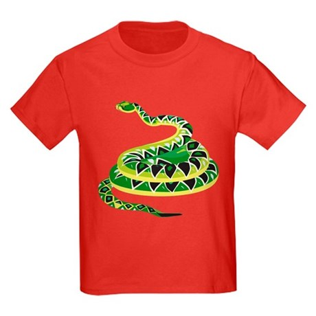 CafePress Green Snake Kids Dark T-Shirt
