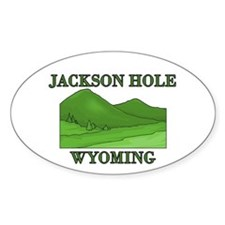 Wyoming Mountains Oval Decal