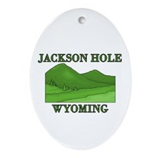 Wyoming Mountains Oval Ornament