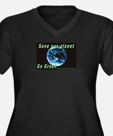 Save our Planet-Go Green Women's Plus Size V-Neck