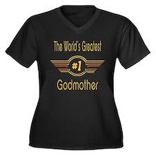 Number 1 Godmother Women's Plus Size V-Neck Dark T