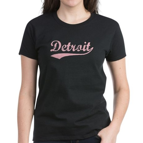 Vintage Detroit (Pink) Women's Dark T-Shirt