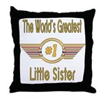 Number 1 Little Sister Throw Pillow