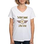 Number 1 Little Sister Women's V-Neck T-Shirt