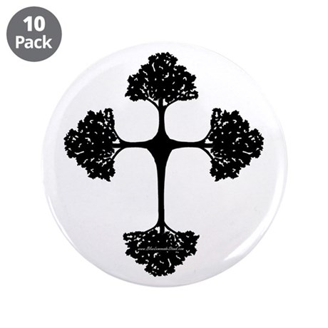"Cross Trees 3.5"" Button (10 pack)"