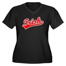 Retro Trish (Red) Women's Plus Size V-Neck Dark T-