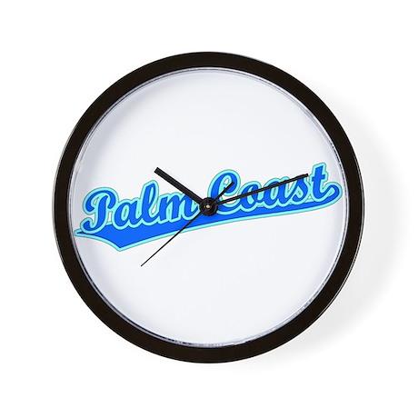 Retro Palm Coast (Blue) Wall Clock