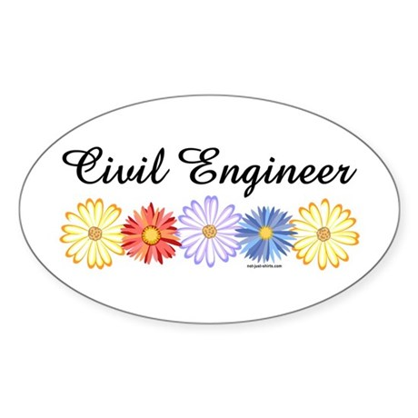 Civil Engineer Asters Oval Sticker