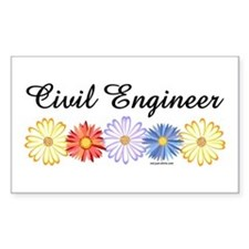 Civil Engineer Asters Rectangle Decal