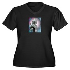Unique Cyborg Women's Plus Size V-Neck Dark T-Shirt