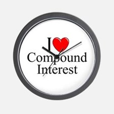 """I Love (Heart) Compound Interest"" Wall Clock"