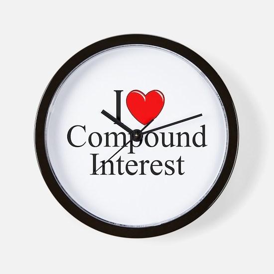 """I Love (Heart) Compound Interest"" Wall Clock"