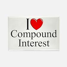 """I Love (Heart) Compound Interest"" Rectangle Magne"
