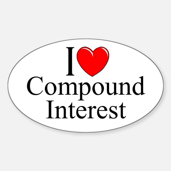 """""""I Love (Heart) Compound Interest"""" Oval Decal"""