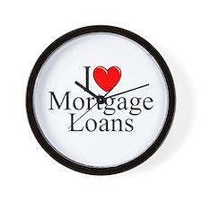 """""""I Love (Heart) Mortgage Loans"""" Wall Clock"""