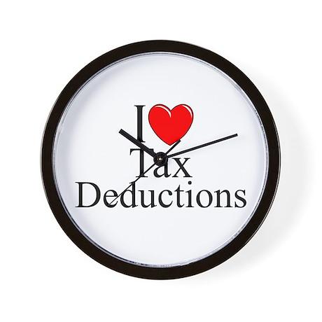 """I Love (Heart) Tax Deductions"" Wall Clock"