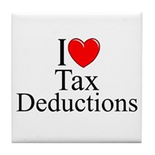 """I Love (Heart) Tax Deductions"" Tile Coaster"
