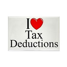 """I Love (Heart) Tax Deductions"" Rectangle Magnet"