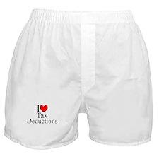 """I Love (Heart) Tax Deductions"" Boxer Shorts"