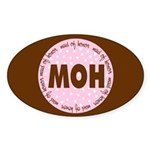 Polka Dot Maid of Honor Oval Sticker