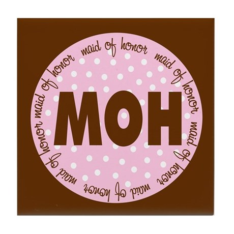 Polka Dot Maid of Honor Tile Coaster